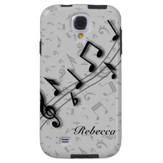 Personalized black and gray musical notes galaxy s4 case