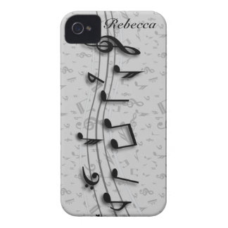 Personalized Black and Gray Musical Notes iPhone 4 Case-Mate Case