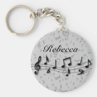 Personalized black and gray musical notes key chains
