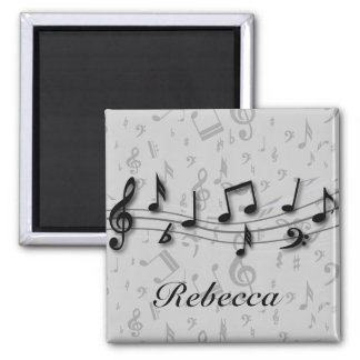 Personalized Black and Gray Musical Notes Magnet