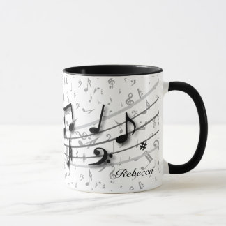 Personalized Black and Gray Musical Notes Mug