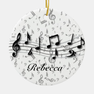 Personalized Black and Gray Musical Notes Round Ceramic Decoration