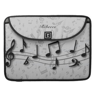 Personalized black and gray musical notes sleeve for MacBook pro
