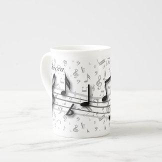 Personalized black and gray musical notes bone china mug