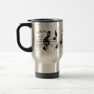 Personalized Black and Gray Musical Notes Travel Mug