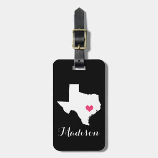 Personalized Black and Pink Heart Texas Home State Luggage Tag