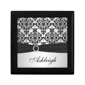 Personalized Black and Silver Damask Trinket Box