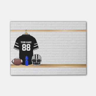 Personalized Black and Silver Gray Football Jersey Post-it® Notes