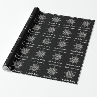 Personalized Black and Silver Snowflake Wrapping Paper