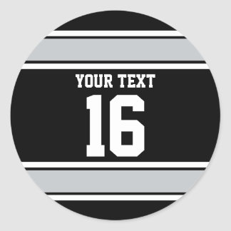 Personalized Black and Silver Sports Stripes Classic Round Sticker