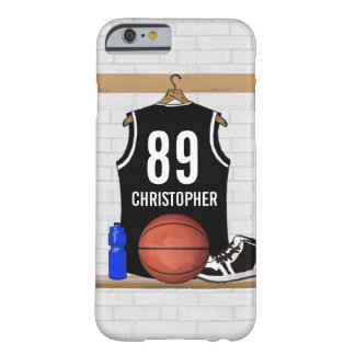 Personalized Black and White Basketball Jersey Barely There iPhone 6 Case