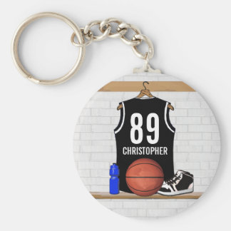 Personalized Black and White Basketball Jersey Basic Round Button Key Ring