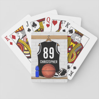 Personalized Black and White Basketball Jersey Card Deck