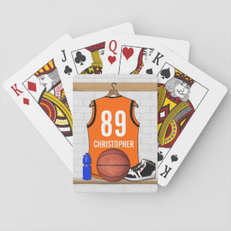 Personalized Black and White Basketball Jersey Card Decks