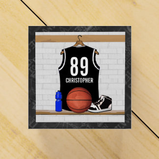 Personalized Black and White Basketball Jersey Favour Box