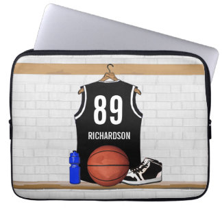 Personalized Black and White Basketball Jersey Laptop Sleeve