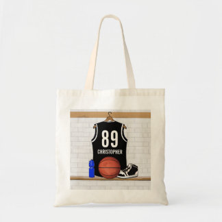 Personalized Black and White Basketball Jersey Tote Bag