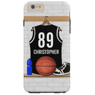 Personalized Black and White Basketball Jersey Tough iPhone 6 Plus Case