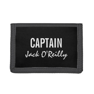 Personalized Black and White Captain Trifold Wallet