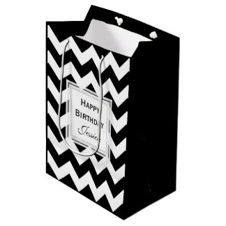 Personalized: Black And White Chevron Gift Bag 2