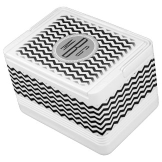 Personalized Black and White Chevron Monogrammed Igloo Cooler