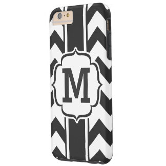 Personalized Black and White Chevron Stripe Tough iPhone 6 Plus Case