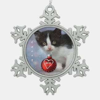 Personalized Black and White Christmas Kitten Snowflake Pewter Christmas Ornament