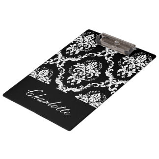 Personalized Black And White Damask Pattern Clipboard