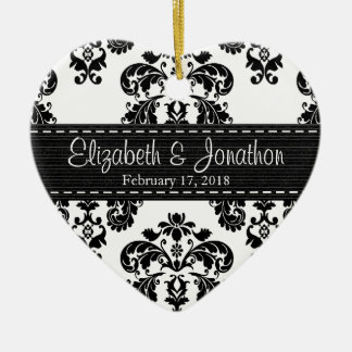 Personalized Black and White Damask Wedding Favor Christmas Ornament