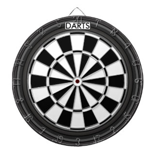 Personalized Black and White Dartboard