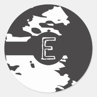 Personalized Black and White Funky Monogram Round Sticker