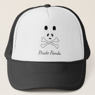 Personalized Black and White Funny Pirate Panda Trucker Hat
