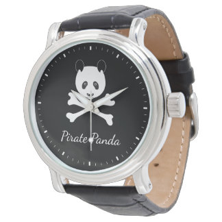 Personalized Black and White Funny Pirate Panda Watch