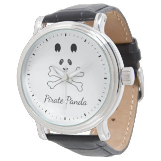 Personalized Black and White Funny Pirate Panda Wrist Watches