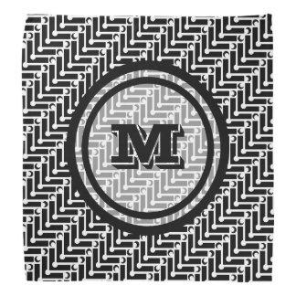 Personalized Black and White Geometric Pattern Bandana
