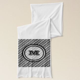 Personalized Black and White Geometric Pattern Scarf