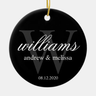 Personalized Black and White Monogram Christmas Ornament
