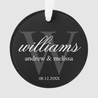 Personalized Black and White Monogram Ornament