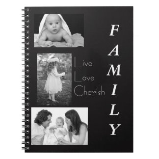 Personalized Black and White Photo Family Notebook