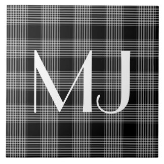 Personalized Black and White Plaid Tartan Pattern Large Square Tile
