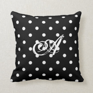 Personalized Black And White Polka Dot Cushion