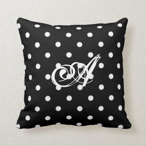Personalized Black And White Polka Dot Cushion Pillows