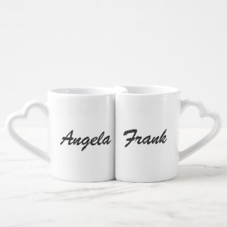 Personalized Black and White Polka Dot Font Coffee Mug Set