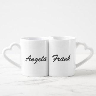 Personalized Black and White Polka Dot Font Coffee Mug Set