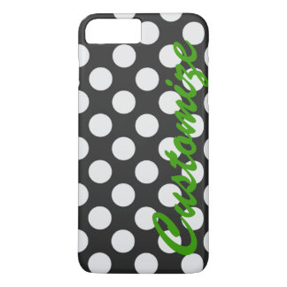 Personalized Black and White Polka Dots iPhone 7 Plus Case