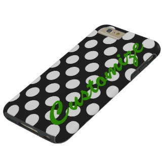 Personalized Black and White Polka Dots Tough iPhone 6 Plus Case