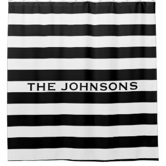 Personalized black and white stripe shower curtain
