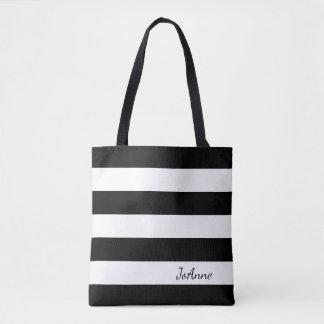 Personalized Black and White Striped Tote