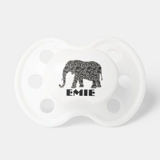 Personalized Black and White Swirl Elephant Baby Pacifiers