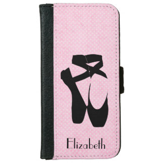 Personalized Black Ballet Shoes En Pointe iPhone 6 Wallet Case